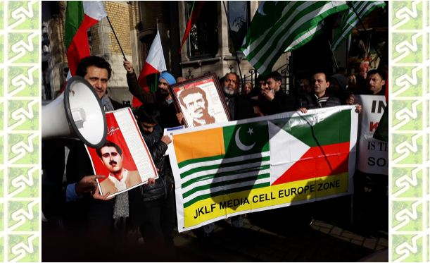 JKLF Protest in Front of Indian Embassy at Brussels