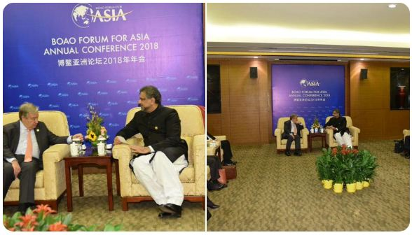 PM Abbasi briefed UN GS about IOK HR & ceasefire violations by India