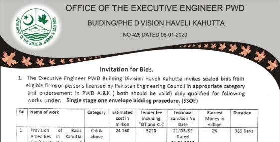 The Executive Engineer PWD Building Division Haveli Kahuta Invites Sealed Bids From Eligible Firms or Persons