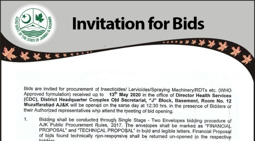 Bids are invited for Procurement of Insectisides/larvisides/spraying machine