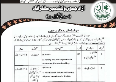 Applications are required from eligible candidates for the vacant posts in the Presidential Secretariat, Muzaffarabad