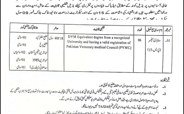 Applications are required for permanent posts of Veterinary Officers in Livestock and Dairy Development Department Muzaffarabad.
