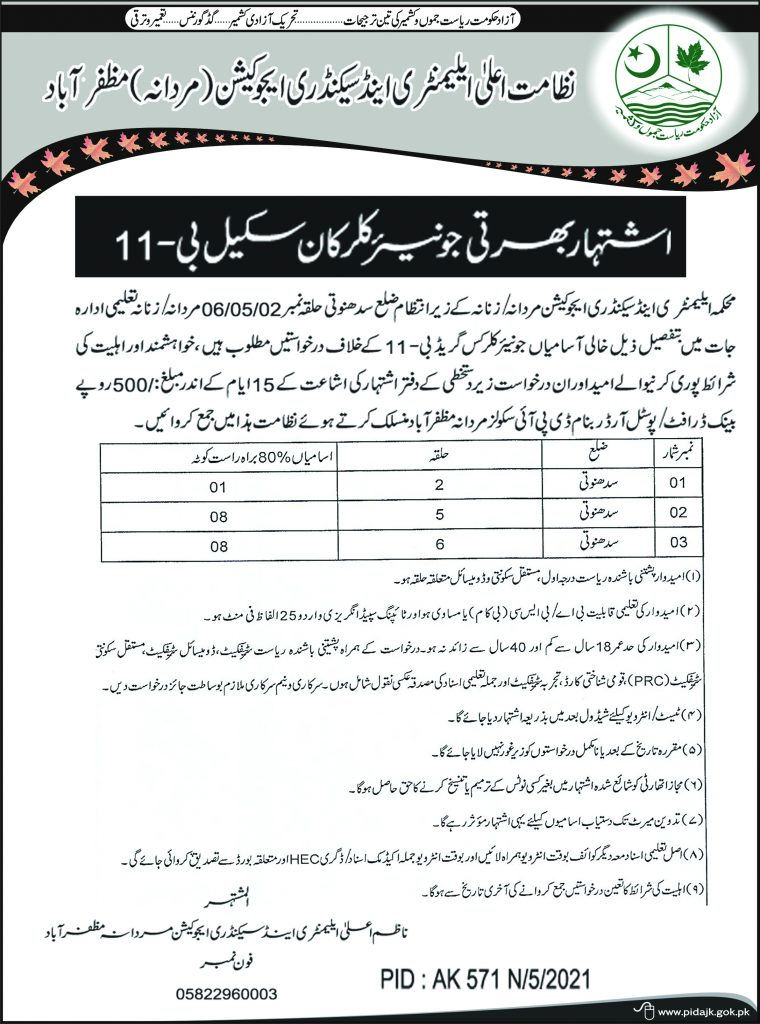 Applications are invited for posts of Clerks in the Directorate of Elementary and Secondary Education, Muzaffarabad.