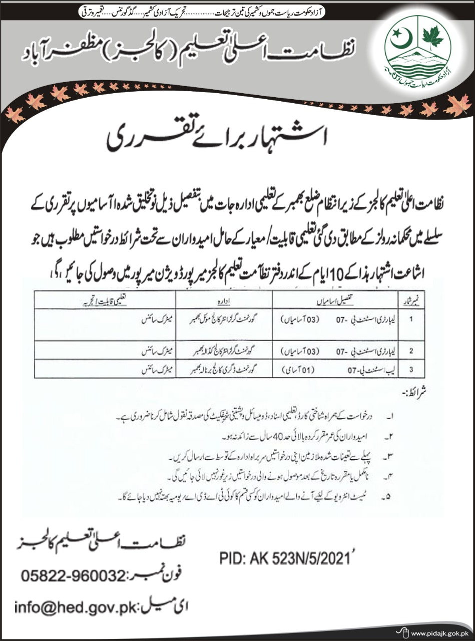 Directorate of Higher Education (Colleges) Muzaffarabad invites applications from candidates for newly created posts for educational institutions in Bhimber District.
