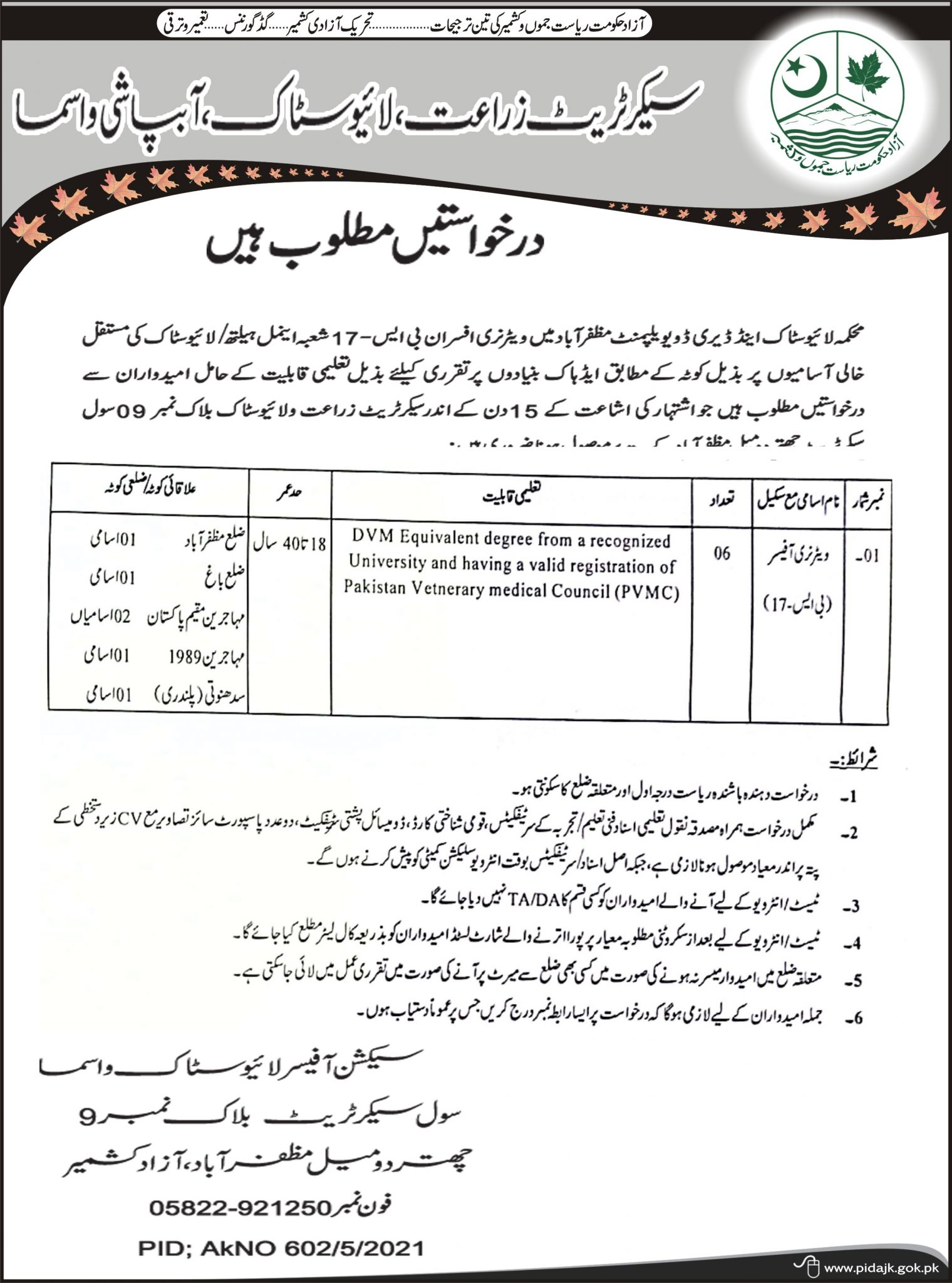 Applications are required for permanent posts of Veterinary Officers in Livestock and Dairy Development Department